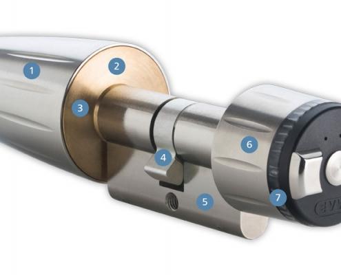 DOM Schließzylinder elektronisch zur Türsicherung, Voitleitner Sicherheitstechnik